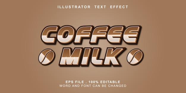 Efeito de texto editável café leite