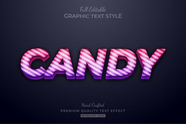 Efeito de texto editável candy gradient strip
