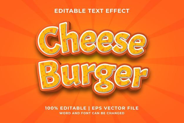 Efeito de texto editável - cheese burger 3d template style premium vector