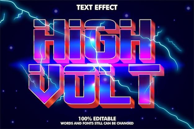 Efeito de texto editável cinematográfico efeito de texto elétrico com estilo retro dos anos 80