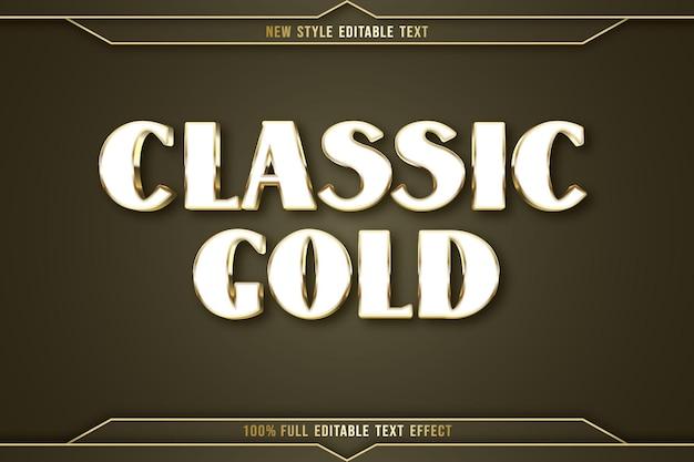 Efeito de texto editável clássico cor ouro branco e dourado