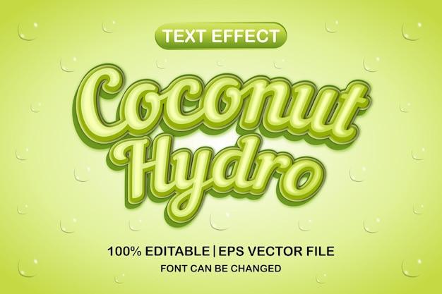 Efeito de texto editável coconut hydro 3d