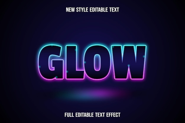 Efeito de texto editável com brilho em azul e rosa
