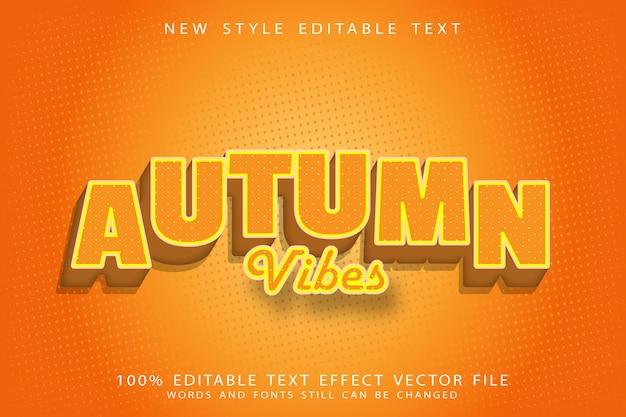 Efeito de texto editável com clima de outono em relevo estilo vintage Vetor Premium