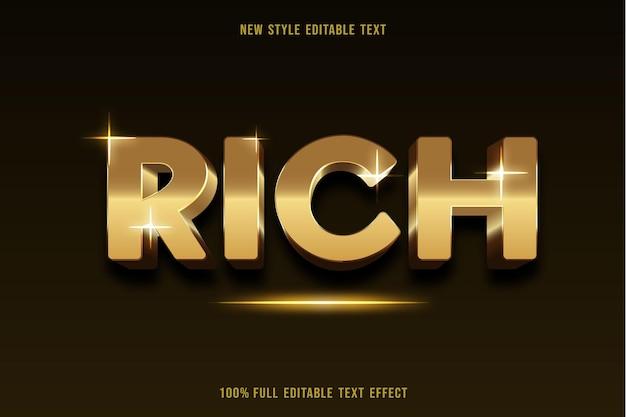 Efeito de texto editável com cores ricas em dourado e marrom