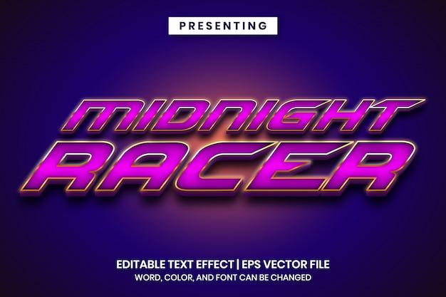 Efeito de texto editável com estilo de jogo de corrida metálico