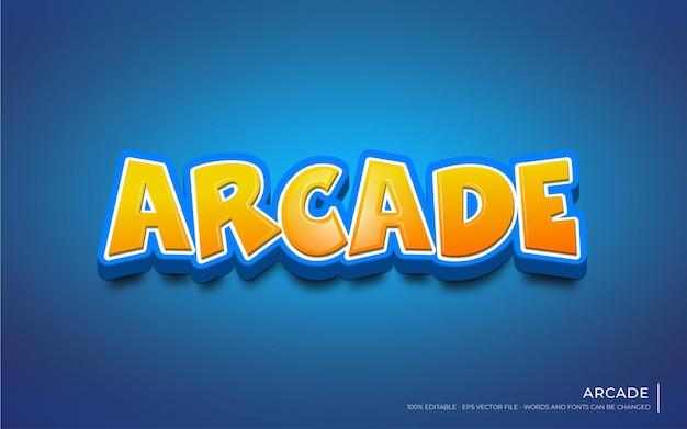 Efeito de texto editável com ilustrações de estilo arcade 3d