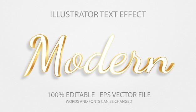 Efeito de texto editável com modelo dourado branco