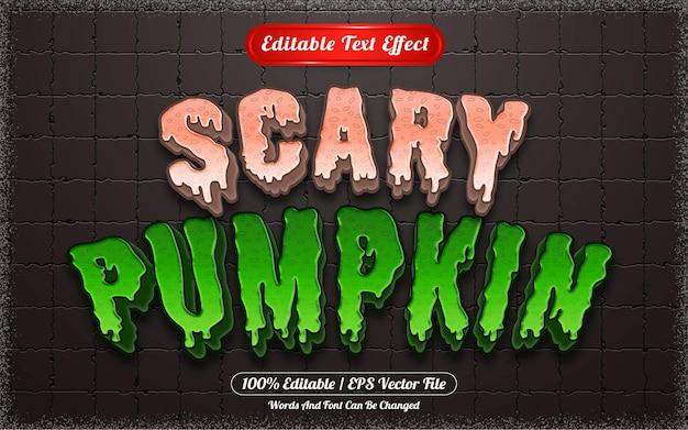 Efeito de texto editável com tema assustador de abóbora de halloween