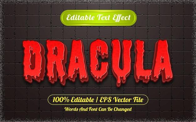 Efeito de texto editável com tema de drácula de halloween