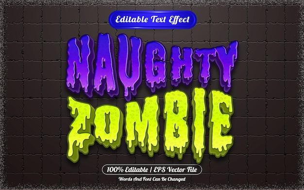 Efeito de texto editável com tema de halloween travesso zumbi