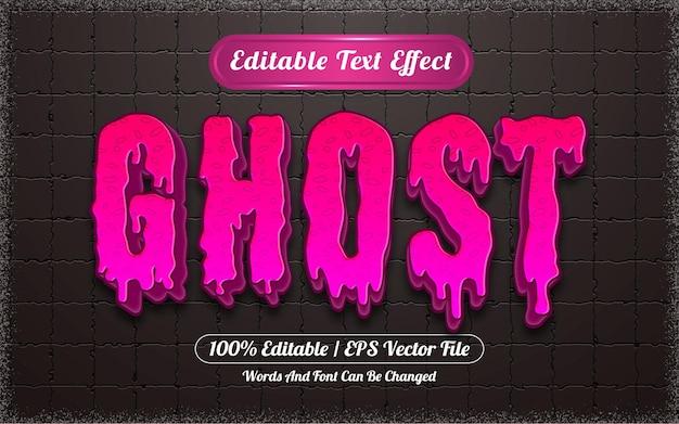 Efeito de texto editável com tema fantasma de halloween