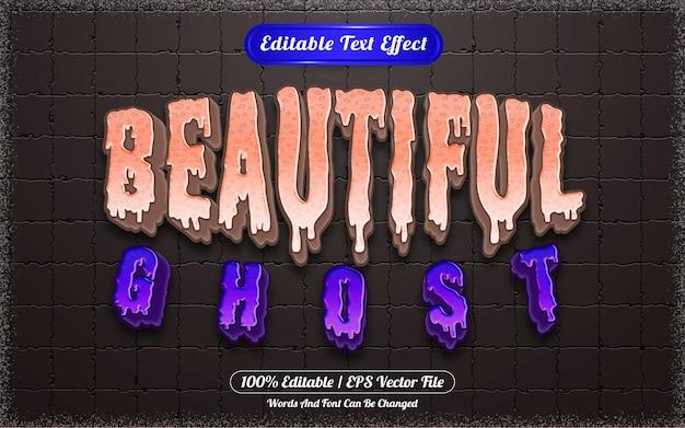 Efeito de texto editável com tema lindo fantasma de halloween
