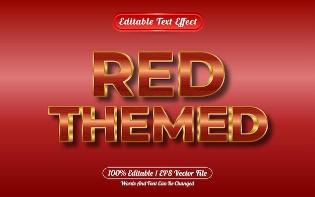 Efeito de texto editável com tema vermelho e estilo dourado
