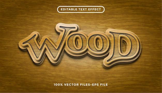 Efeito de texto editável com vetores premium de textura de madeira