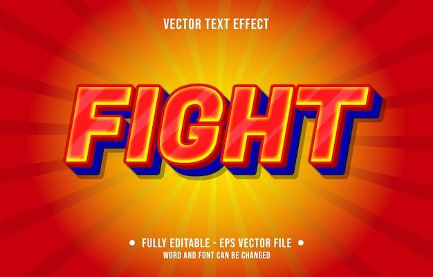 Efeito de texto editável - combate estilo de cor gradiente vermelho e azul
