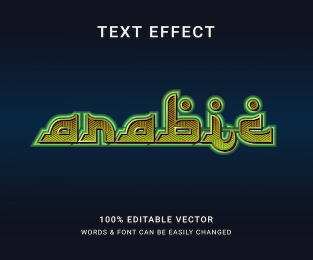 Efeito de texto editável completo em árabe