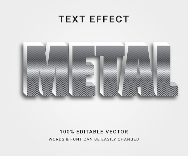 Efeito de texto editável completo em metal