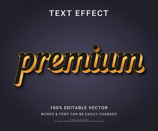 Efeito de texto editável completo premium