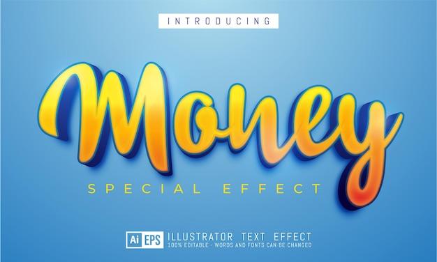 Efeito de texto editável conceito de estilo de texto 3d de dinheiro