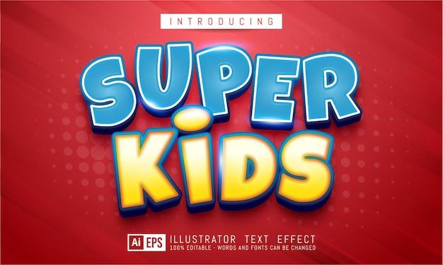 Efeito de texto editável - conceito de estilo de texto super kids