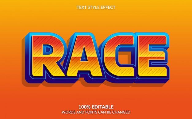 Efeito de texto editável, corrida com estilo de texto em quadrinhos