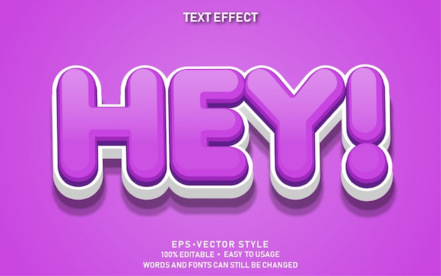 Efeito de texto editável cute hey