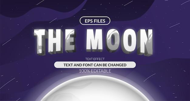 Efeito de texto editável da astrologia do sistema solar lua lunar 3d. arquivo do vetor eps. planeta espaço cósmico