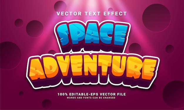 Efeito de texto editável da aventura no espaço adequado para o tema da aventura no espaço