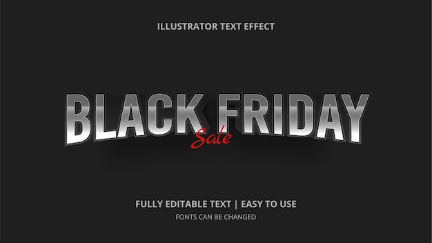 Efeito de texto editável da black friday sale
