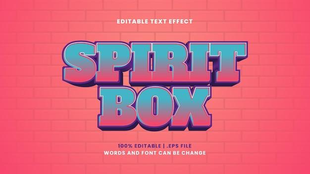 Efeito de texto editável da caixa spirit em estilo 3d moderno