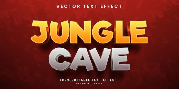 Efeito de texto editável da caverna na selva