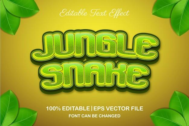 Efeito de texto editável da cobra da selva em 3d