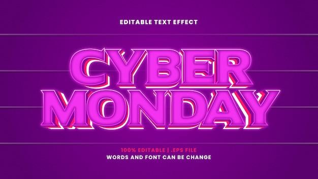 Efeito de texto editável da cyber monday em estilo 3d moderno