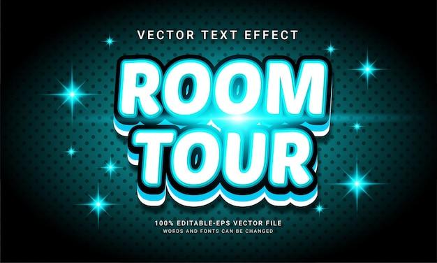 Efeito de texto editável da excursão da sala com o tema comercial da propriedade