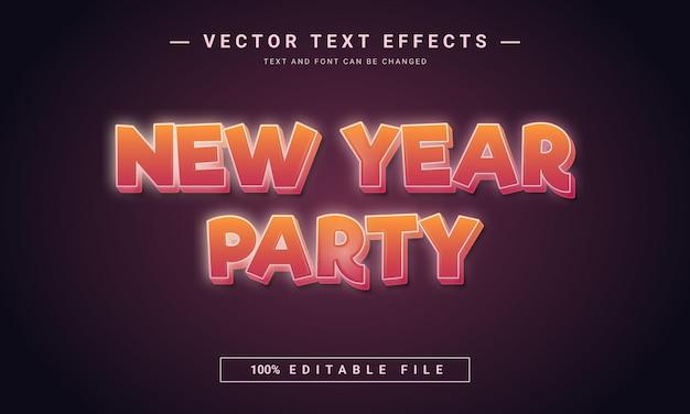 Efeito de texto editável da festa de ano novo