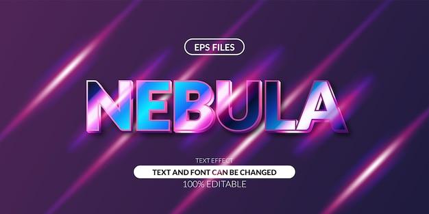 Efeito de texto editável da galáxia nabula brilho do néon da noite 3d Vetor Premium