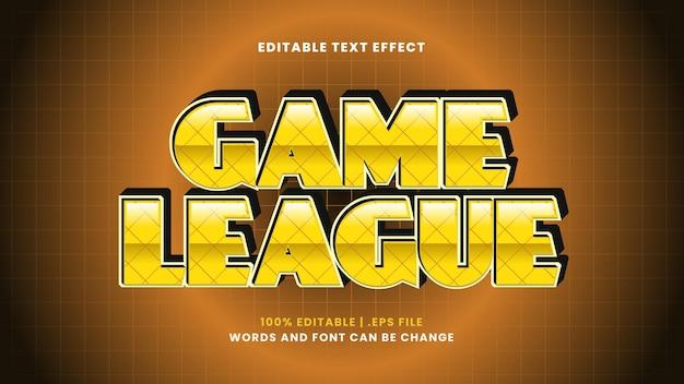 Efeito de texto editável da game league em um estilo 3d moderno