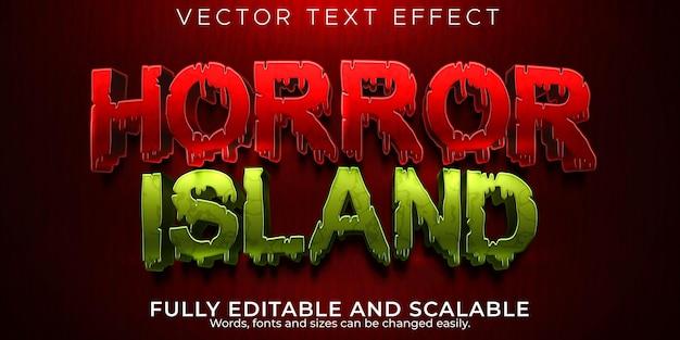 Efeito de texto editável da ilha de terror, estilo de texto sangue e zumbi