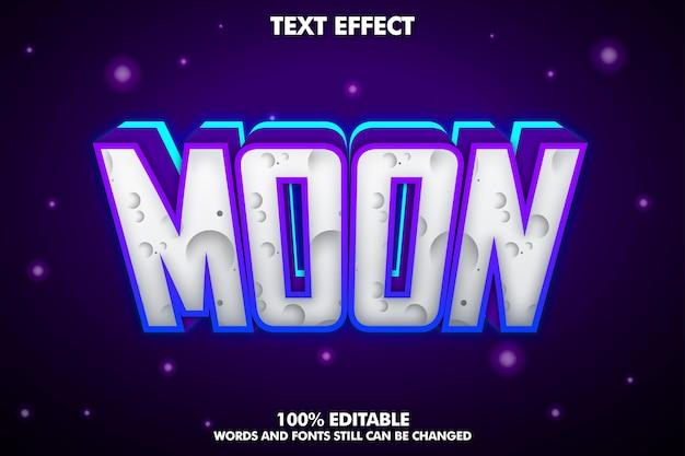 Efeito de texto editável da lua com luz de néon e sombra