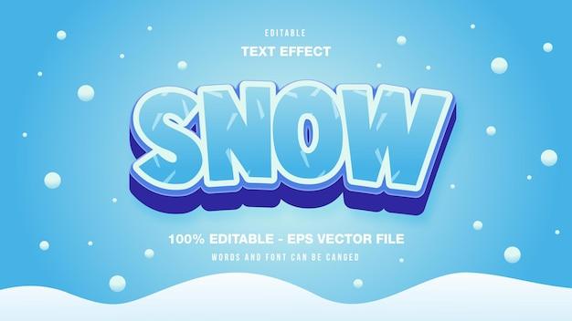 Efeito de texto editável da neve