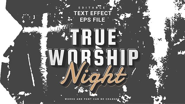 Efeito de texto editável da noite de adoração
