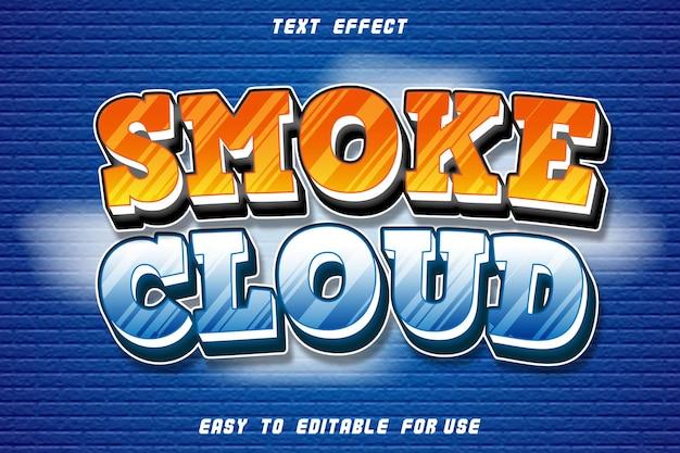 Efeito de texto editável da nuvem de fumaça em relevo estilo cômico