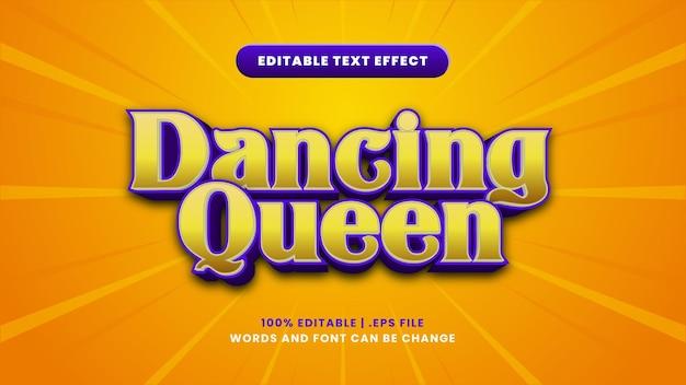 Efeito de texto editável da rainha da dança em estilo 3d moderno