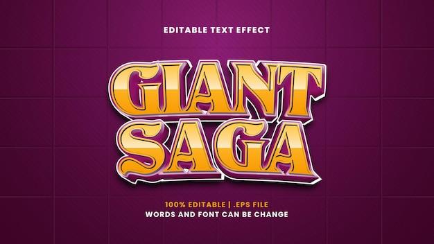 Efeito de texto editável da saga gigante em estilo 3d moderno