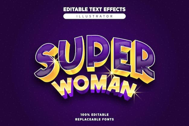 Efeito de texto editável da supermulher
