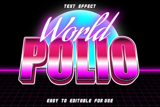 Efeito de texto editável da world polio em relevo em estilo retro
