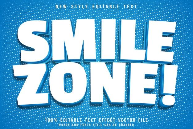 Efeito de texto editável da zona de sorriso em relevo estilo moderno