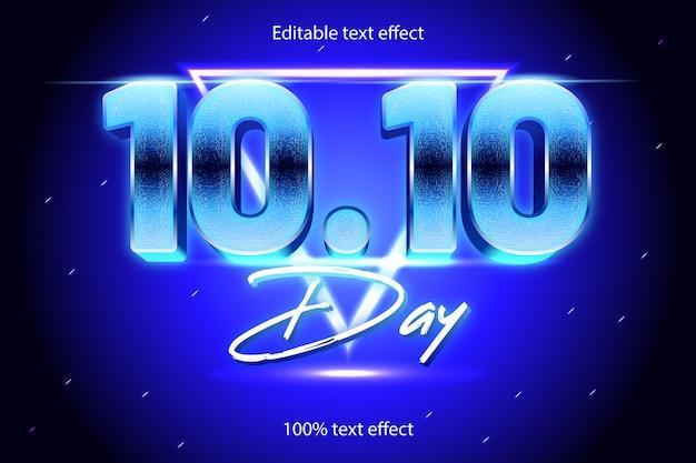 Efeito de texto editável de 10,10 dias retro com estilo neon