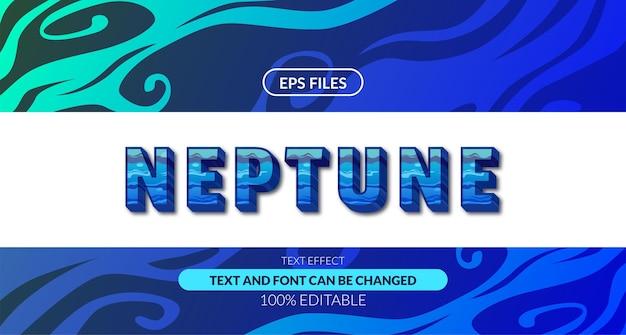 Efeito de texto editável de água fluida de onda de netuno 3d. arquivo do vetor eps. oceano azul profundo